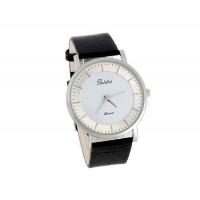 Womage полноценно мужские Белый Круглый Тон Дело Черный кожаный ремешок аналоговые часы
