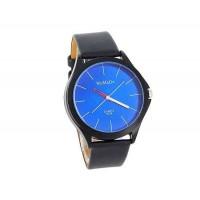 WOMAGE 9724 мужские Круглый циферблат черный кожаный ремешок Аналоговые часы (синий)