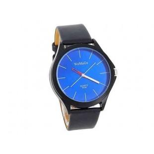 WOMAGE 9724 Мужская Круглый циферблат черный кожаный ремешок Аналоговые часы (синий)