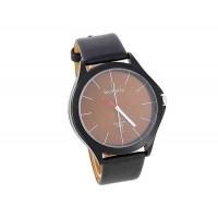 WOMAGE 9724 мужские Круглый циферблат черный кожаный ремешок аналоговые часы (коричневый)