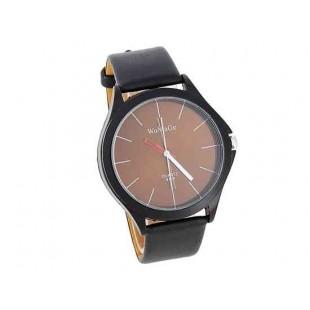 WOMAGE 9724 Мужская Круглый циферблат черный кожаный ремешок аналоговые часы (коричневый)