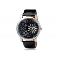 Valiia Unisex Stripe Дизайн Analog Watch (черный)