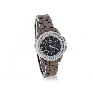 SINOBI Стильные аналоговые часы с бриллиантами  Brilliant Black (черный)