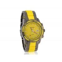 GEMAX 6178 Круглый циферблат вольфрамовой стали ремешок мужские часы (желтый)