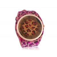 WoMaGe A35 Женская Аналоговые часы с Leopard Pattern Кожа ремешком (красный)