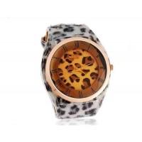 WoMaGe А35 женские Аналоговые часы с Leopard кожи шаблон ремешок (белый)