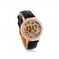 WoMaGe A449 Leopard Pattern Круглый циферблат женщин Аналоговые часы с Faux кожаный ремешок (черный)