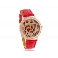 WoMaGe A449 Leopard Pattern Круглый циферблат женщин Аналоговые часы с Faux кожаный ремешок (Red)