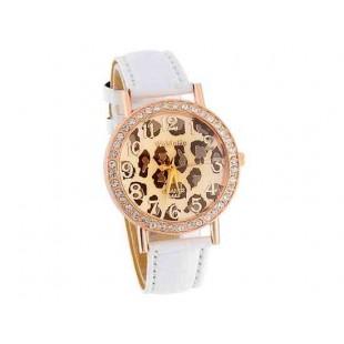 WoMaGe A449 Leopard Pattern Круглый циферблат женщин Аналоговые часы с Faux кожаный ремешок (белый)