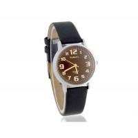 Womage 139-7 Женская Аналоговые часы с ПУ кожаный ремешок (черный)