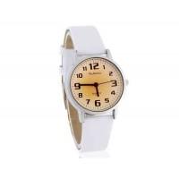 WoMaGe 139-7 Женская Аналоговые часы с PU кожаный ремешок (белый)