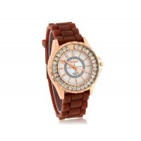 WoMaGe A450 Женская Золотой круглый циферблат аналогового Кварцевые часы с алмазной украшения (коричневый)