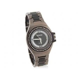 GEMAX Круглый циферблат Кварцевые часы с алмазной украшения (черный)