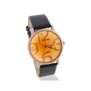 WOMAGE Круглый циферблат Аналоговые часы с ПУ кожаный ремешок (черный)