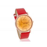 WOMAGE круглый циферблат аналогового часы с PU кожаный ремешок (красный)
