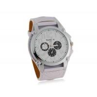 WoMaGe 9150 Стильные аналоговые часы с ПУ кожаный ремешок (белый)