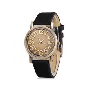WoMaGe Круглый циферблат кварцевые аналоговые часы с искусственного кожаный ремешок (черный)