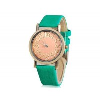 WoMaGe Круглый циферблат Кварцевые аналоговые часы с Faux кожаный ремешок (Green)