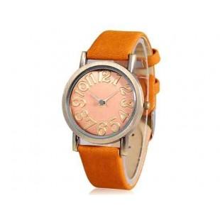 WoMaGe Круглый циферблат Кварцевые аналоговые часы с искусственной кожаный ремешок (желтый)