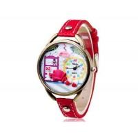 VALIA  Женские Стильные наручные часы с 68 Движения, сплав случае, ТПУ каучуковый ремешок (красный)