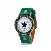 WOMAGE 523-9 Женские Звезда печати Круглый циферблат Аналоговые часы (зеленый)