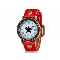 Womage 523-9 Женская Звезда печати Круглый циферблат Аналоговые часы (красный)