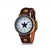 WOMAGE 523-9 Женские Звезда печати Круглый циферблат аналоговых часов (коричневый)