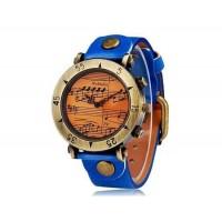 Womage 568-1 Женская музыкальная нота Круглый циферблат аналогового дисплея наручные часы (синий)