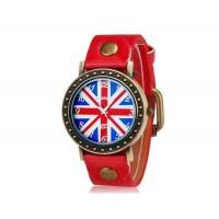 WOMAGE 523-4 мужские Великобритании Флаг печати Круглый циферблат Аналоговые часы (красный)