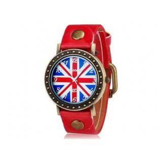 WOMAGE 523-4 Мужская Великобритании Флаг печати Круглый циферблат Аналоговые часы (красный)