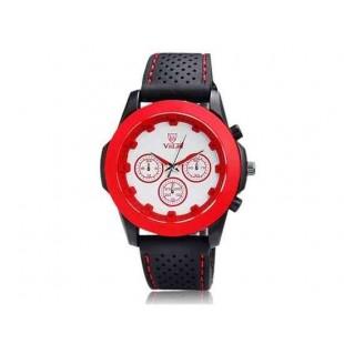Валя 9131 Женские Круглый циферблат Аналоговые часы с ТПУ каучуковый ремешок (красный)