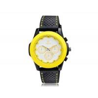 VALIA  9131 Женская Круглый циферблат Аналоговые часы с ТПУ каучуковый ремешок (желтый)