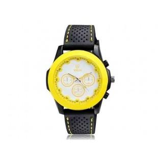 Валя 9131 Женская Круглый циферблат Аналоговые часы с ТПУ каучуковый ремешок (желтый)
