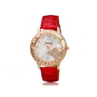Валя 6551 Женские Круглый циферблат Аналоговые часы с кристально украшения (красный)
