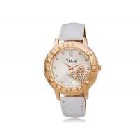 VALIA  6551 круглый циферблат аналогового часы с Кристалл украшение (белый)