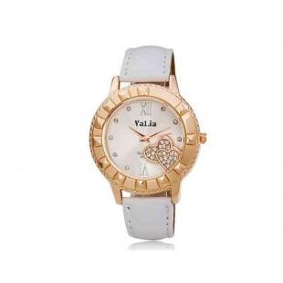 Валя 6551 Женский круглый циферблат аналогового часы с Кристалл украшение (белый)