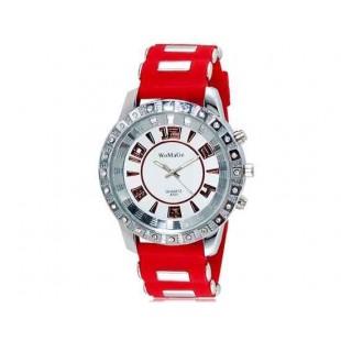 WOMAGE 531 Мужская Кристалл оформлен кварцевые аналоговые часы с силиконовым ремешком (красный) М.