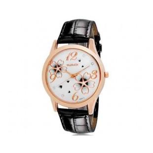 Womage 9965-3 Женская Аналоговые часы с Faux кожаный ремешок (черный) М.