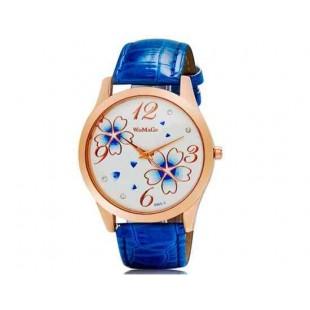 Womage 9965-3 Женская Аналоговые часы с Faux кожаный ремешок (синий) М.