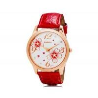 WOMAGE 9965-3 Женская Аналоговые часы с искусственного кожаный ремешок (красный) М.