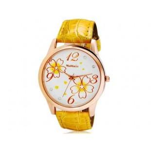 Womage 9965-3 Женская Аналоговые часы с Faux кожаный ремешок (желтый) М.