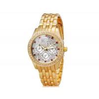 KINGSKY 8817 Женская стильная Кристалл Украшенные Аналоговые часы с алюминиевой ремешок (Gold) М.
