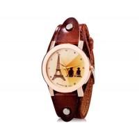 Womage 232-3 Женская башня Распечатать Круглый Аналоговые часы с Корпус из нержавеющей стали и ремень из натуральной кожи (темно-коричневый) М.