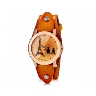 Womage 232-3 Женская башня Распечатать Круглый Аналоговые часы с Корпус из нержавеющей стали и ремень из натуральной кожи (коричневый) М.