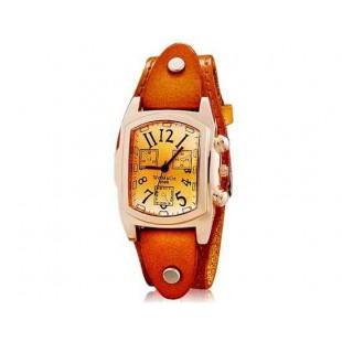 WOMAGE 9068 Женская Прямоугольные Аналоговые часы с Корпус из нержавеющей стали и ремень из натуральной кожи (коричневый) М.