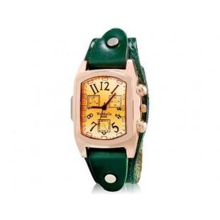 WOMAGE 9068 Женская Прямоугольный Аналоговые часы с Корпус из нержавеющей стали и кожаный ремешок (зеленый) М.