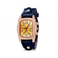 WOMAGE 9068 Женская Прямоугольный Аналоговые часы с Корпус из нержавеющей стали и кожаный ремешок (синий) М.