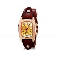 WOMAGE 9068 Женская Прямоугольные Аналоговые часы с Корпус из нержавеющей стали и ремень из натуральной кожи (темно-коричневый) М.