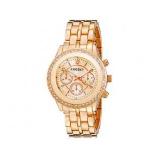 Kingsky 8805 Женская Кристалл Украшенные Круглый Аналоговые часы с нержавеющей стальной ремень (Rose Gold) М.