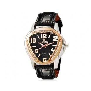Валя 8232 Женщины Треугольник Аналоговые часы с Кристалл Украшение & Faux кожаный ремешок (черный) М.